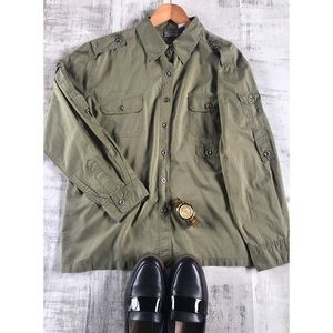 Chicos Green utility button down shirt